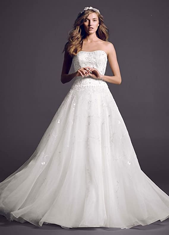 SAMPLE Wedding Dress Satin Bodice with Organza Skirt and Beading Style..