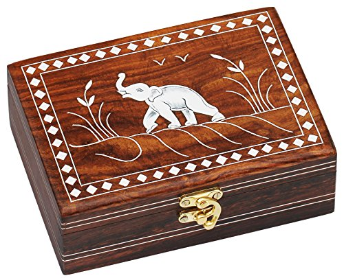 **One Day Sale**Dancing Elephant Wooden Storage Box - Handmade Jewelry Box / Decorative Box / Treasure Chest / Keepsake Box from India - 7 Inches Antique Look Wood Inlay Box with lid