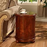 Birch Drum Table. This Decorative Accent table Features a Storage Area with Two Shelves and Antique Handle. With it's wine barrel table Shape It gives Maximum Room for your Stored Items Like Other End Tables and Coffee Tables, It Looks great next to Living Room Furniture Like Sofas. But Also Works well with Your Other Home Furnishings Like Next to Beds Or Wall Mounted Mirrors.