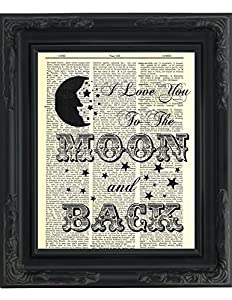 Amazon Com Dictionary Art Print I Love You To The Moon