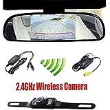 "Podofo® 4.3"" Car TFT LCD Mirror Monitor Wireless Reverse Car Rear View Backup Camera Kit (Black)"