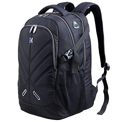 【Langforth】ハイキングバックパック コンピュータバックパック 軽量 ナイロン製 メンズ アウトドア 登山用バッグ 通学 旅行 出張 撥水ナイロン iPad PC収納 25L ブラック