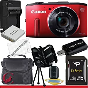 Canon PowerShot SX280 HS Digital Camera (Red) 16GB Package