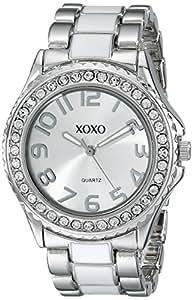 XOXO Women's XO5410  Silver-tone/White Epoxy Bracelet With Rhinestones Accent Watch