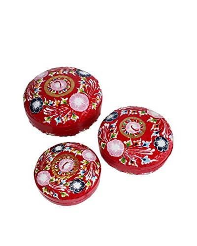 Asian Loft Set of 3 Painted Round Baskets, Red/Multi