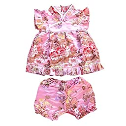 Buenos Ninos Girls Short Sleeve Cheongsam Baby Qipao Patterned Cloth Set Pink Peony M