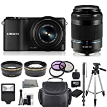 Samsung NX2000 Mirrorless Digital Camera Kit with 20-50mm & 50-200mm f/4.0-5.6 Lenses. Includes 0.45X Wide Angle Lens, 2X Telephoto Lens, 3 Piece Filter Kit (UV-CPL-FLD), 16GB Micro SD Memory Card & Much More!