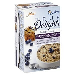 Quaker True Delights Wild Blueberry Muffin Instant Oatmeal, 11.2 oz (Pack of 3)