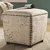 Coaster Home Furnishings 501108 Ottoman Upholstered in French Print Fabric with Nailhead Trim