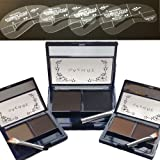 EYEBROW POWDER KIT COMPACT-WATERPROOF inc Mirror & Applicator plus 4 ABS EYEBROW STENCILS-3 SHADES TO CHOOSE FROM: LIGHT - MEDIUM or DARK