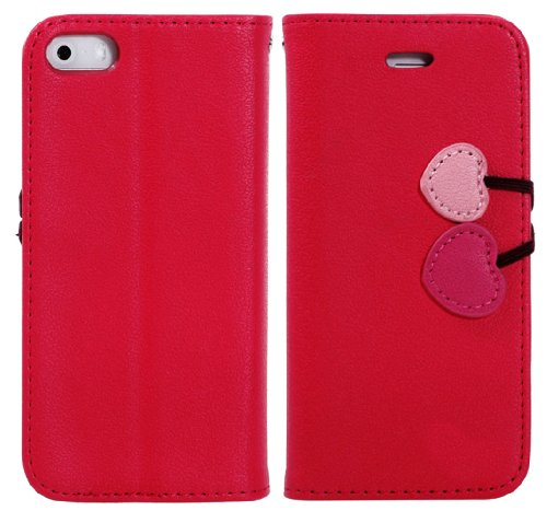 Mylife (Tm) Red Love Cherry Design - Textured Koskin Faux Leather (Card And Id Holder + Magnetic Detachable Closing) Slim Wallet For Iphone 5/5S (5G) 5Th Generation Itouch Smartphone By Apple (External Rugged Synthetic Leather With Magnetic Clip + Interna
