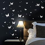 """Wandtattoo Loft Leuchtaufkleber: """"Große Schmetterlinge"""" 125 Aufkleber im Set - Leuchten in der Nacht Lecuhtschmetterlinge und Leuchtpunkte für einen tollen Sternenhimmel in Kinderzimmer oder Schlafzimmer"""