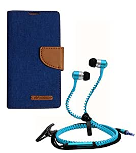 Aart Fancy Wallet Dairy Jeans Flip Case Cover for MotorolaMotoE (Blue) + Zipper Earphones/Hands free With Mic *Stylish Design* for all Mobiles- computers & laptops By Aart Store.