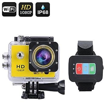 Q3 Caméra sport FHD 1080P / Angle de vue 170° / 12MP / Écran 2 pouces / Télécommande / Wi-Fi / Application gratuite iOS et Android / Jaune