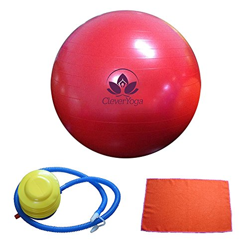 Clever Yoga Fitness Ball With FREE Exercise Hand Towel and Foot Pump - Comes With Our Special