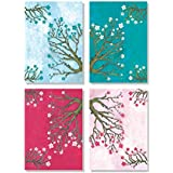 Peaceful Flower 4 Pieces Unframed Modern Abstract Textured Canvas Painting For Home Decoration Beautiful Flowers Pink And Blue Unframed Painting For Wall Decoration Living Room Bed Room Corporate Hotel Spa And Gifting