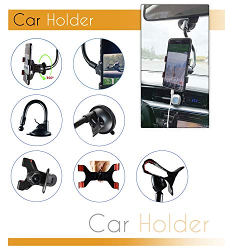 Universal Cell Phone Car Holder Mount Double Clamp Galaxy S6//S7//S8,Google,Huawei Windshield Strong and Long Shockproof Arm with Strong Sticky Suction Cup for iPhone Xs MAX//XS//XR//X//8//7//7P//6s