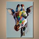 【art gallery】 絵画 モダン アートパネル 手書き 油絵 「キリン」 木枠フレーム付
