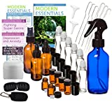 Essential Oil Bottles Amber Glass and Cobalt Blue Glass 31 Piece Deluxe Kit- Aromatherapy Supplies for Home, Health and Wellness, Glass Roll on Bottles, Cobalt Blue Spray Bottle, Empty Travel Vials, Amber Sprayer Bottles, Refillable Plastic Containers, Pipettes, Funnels, Essential Oil Guide and How to Reference Material. Bonus Essential Oil Travel Black Key Chain with Sample Vials