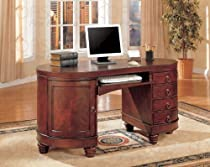 Hot Sale Brown Cherry Finish Kidney Shape Office Computer Desk