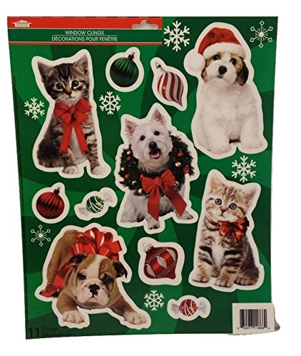 Christmas Seasons Greetings Happy Holiday Decoration Decor Window Cling Decorations Stickers CATS & (Homemade Costume Dog Halloween)