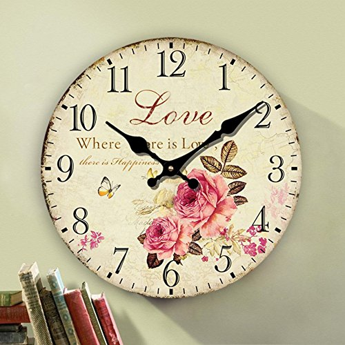 Romantic Roses Clock, 12 Eruner Country Floral Wall Clock *Love* Wooden Art Decor Non-Ticking Home Decoration(C-62)