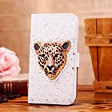 Locaa(TM) For Sony Xperia M2 S50h 3D Bling Cases Deluxe Luxury Crystal Pearl Diamond Rhinestone eye-catching Beautiful Leather Retro Support bumper Cover Card Holder Wallet Case - [General series] golden leopard