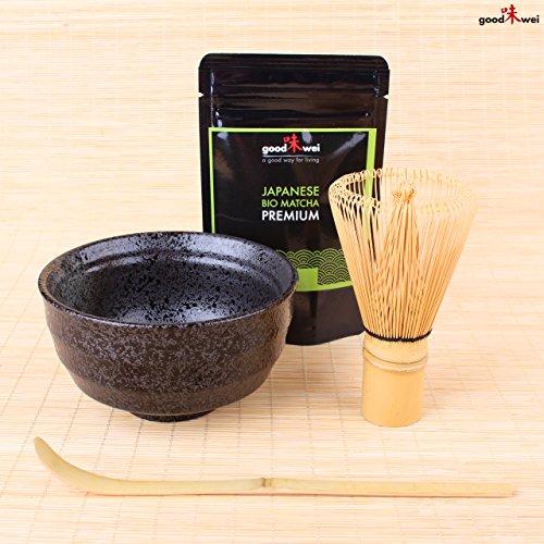 Matcha Tee Starter-Set: Original Japan Bio Matcha 30g im Alu-Zip-Beutel - Matcha Schale mit Matchabesen Chasen und Bambuslöffel Chashaku thumbnail