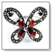 Butterfly Garnet & Sterling Silver Ring