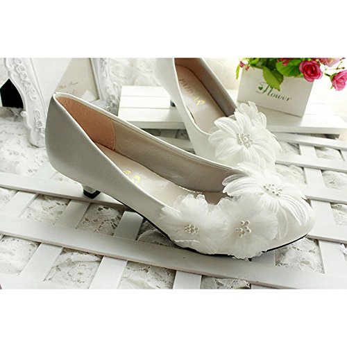 KAKA(TM)Women's Flowers Rhinestone White Stiletto Heel Lace Wedding Bridal Shoes(38)