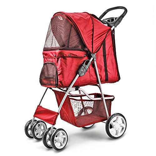Flexzion Pet Stroller (Red) Dog Cat Small Animals Carrier Cage 4 Wheels Folding Flexible Easy Walk for Jogger Jogging Travel Up to 30 Pounds With Rain Cover Cup Holder and Mesh Window