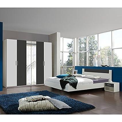 Schlafzimmer Set Anthrazit weiß 140cm Futonbett Kleiderschrank Nachtschränke