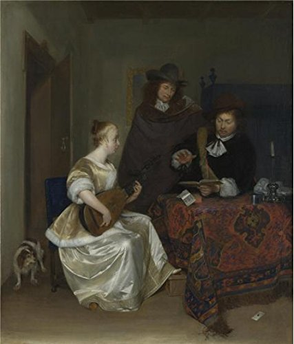 The Perfect Effect Canvas Of Oil Painting 'Gerard Ter Borch - A Woman Playing A Lute To Two Men,about 1667-8' ,size: 20x23 Inch / 51x59 Cm ,this Vivid Art Decorative Prints On Canvas Is Fit For Bar Decoration And Home Decoration And Gifts