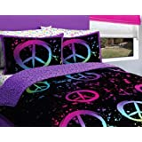Black Purple Pink Peace Sign Queen Girls Comforter Set (7 Piece Bed In A Bag)