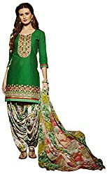 Go Traditional Women's Cotton Unstitched Dress Material (Green)