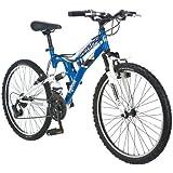 "Mongoose Exlipse 24"" Boys Dual Suspension Mountain Bike, Blue"