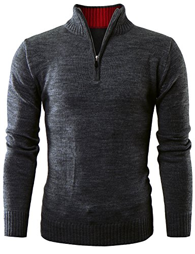 ohoo-mens-quarter-zip-neck-acrylic-pullover-sweater-dcp002-charcoal-l