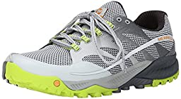 Merrell Men\'s All Out Charge Trail Running Shoe, Grey/Lime Green, 8 M US