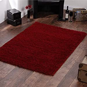 "Shaggy Rug Red 963 Plain 5cm Thick Soft Pile 80cm x 150cm (2ft 6"" x 5ft 0"") Modern 100% Berclon Twist Fibre Non-Shed Polyproylene Heat Set - AVAILABLE IN 6 SIZES by Quality Linen and Towels by Quality Linen and Towels"