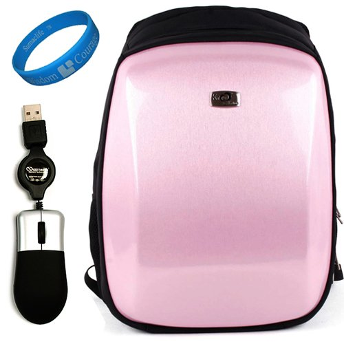 Baby Pink Protective Backpack Carrying Case for Acer Aspire Timeline X 15.6-inch Laptop Models AS5820T-6401, AS5820T-7683 + Naztech USB Mini Mouse with...