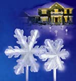 Set of 4 Pure White Frosted LED Lighted 3-D Snowflake Christmas Pathway Markers