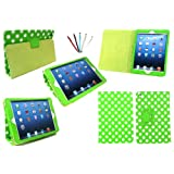 Emartbuy ® De Apple Ipad Tablet Mini Bundle Pack De 5 Función Dual Stylus + Green / White Polka Dots Monedero...
