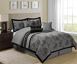 7 Piece Shasta Gray Bed in a Bag Comforter Sets- Queen King Size (Queen)