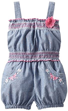 Little Lass Baby-girls Infant 1 Piece Romper With Smocking, Blue, 18 Months