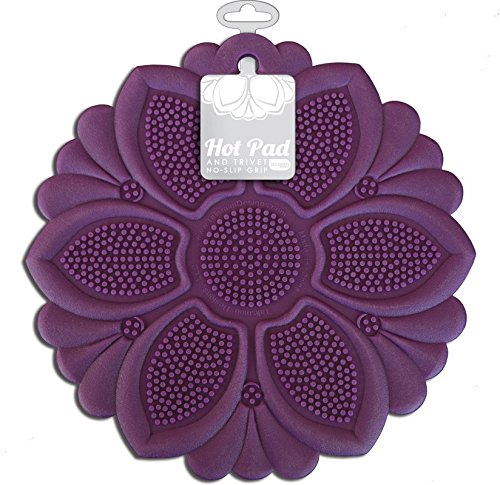Talisman Designs No-Slip Grip Hot Pad, Pot Holder & Trivet, BPA-free Silicone, Purple, 7.5