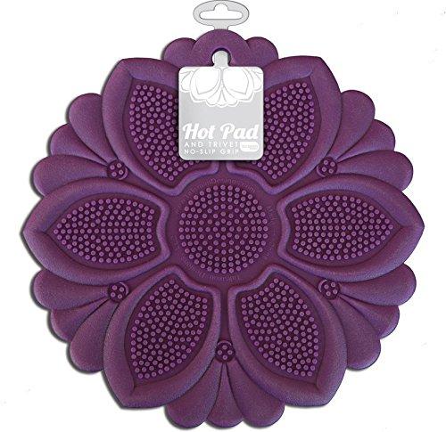 Talisman Designs No-Slip Grip Hot Pad, Pot Holder & Trivet, BPA-free Silicone, Purple, 7.5