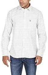 US Polo Assn. Men's Slim Fit Cotton Shirt (USSH3348_White_S)