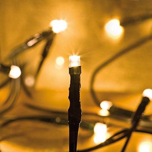 Mini LED Lichterkette 20-flammig warmweiß klare Kerzen / grünes Kabel mit 150 cm Zuleitung