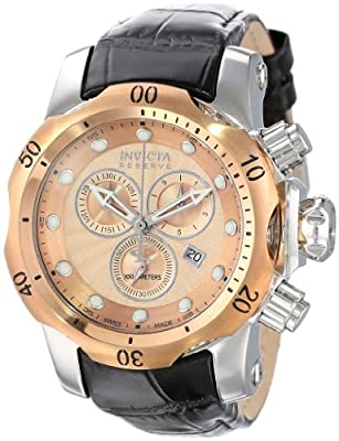 Invicta Men's 10813 Venom Reserve Chronograph Rose Gold Tone Textured Dial Black Leather Watch