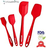 Set of 2 Premium Silicone Spatulas, 1 Baking Spoon and 1 Brush Utensil Bundle Hygienic Solid Silicone Design in Red - 100% Food Grade Silicone